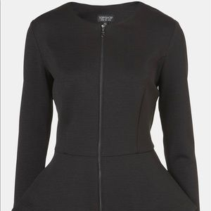 Topshop Black Peplum Zip Jacket